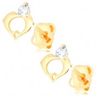 Náušnice v žltom 14K zlate - číry diamant, kontúra srdca z dvoch delfínov