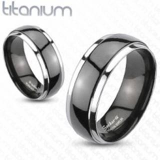 Obrúčka z titánu - čierno strieborná farba - Veľkosť: 49 mm