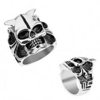 Oceľový prsteň striebornej farby, lebka s rohmi, srdce, guličky, hranaté línie - Veľkosť: 56 mm