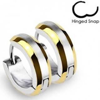 Okrúhle náušnice - prúžky zlatej farby a stred striebornej farby