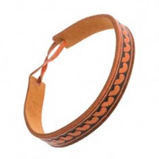Oranžovohnedý kožený náramok, úzky pásik s poloblúkovým vzorom