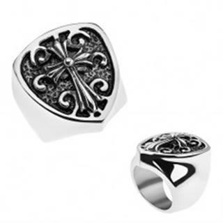 Patinovaný prsteň z ocele 316L, erb s ľaliovým krížom, ornamenty - Veľkosť: 56 mm