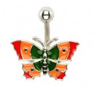 Piercing do bruška - pestrofarebný motýľ