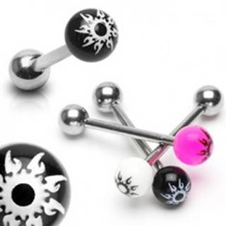 Piercing do jazyka z ocele - farebná gulička, hviezda - Farba piercing: Biela