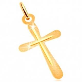 Prívesok v žltom zlate 585 - plochý kríž, ligotavý ryhovaný povrch