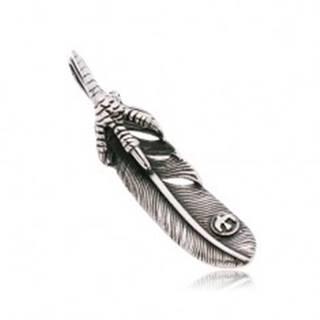 Prívesok z chirurgickej ocele striebornej farby, pierko a pazúry, čierna patina