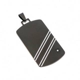 Prívesok z ocele 316L - čierny obdĺžnik s bielymi šikmými pásmi a zirkónom