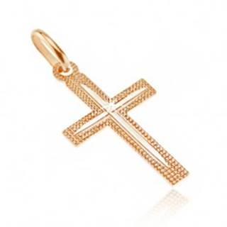 Prívesok zo 14K zlata - kríž, vrúbkovaný povrch s tenkým zárezom v cípoch