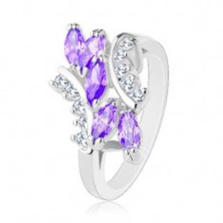Prsteň striebornej farby, fialové zirkónové zrniečka, číre zahnuté línie - Veľkosť: 51 mm