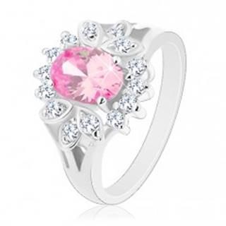 Prsteň striebornej farby, ružový zirkónový ovál, číry lem, lístočky - Veľkosť: 52 mm