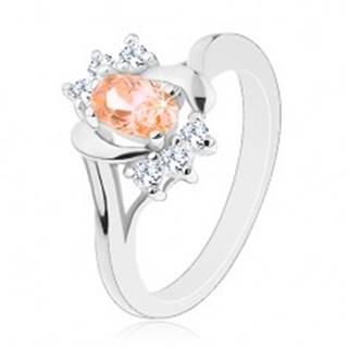 Prsteň v striebornej farbe, svetlooranžový brúsený ovál, oblúky, číre zirkóniky - Veľkosť: 50 mm