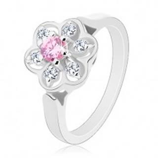 Prsteň v striebornom odtieni, ligotavý číry kvietok s ružovým stredom - Veľkosť: 50 mm