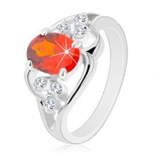 Prsteň v striebornom odtieni, oranžový oválny zirkón, zvlnené línie - Veľkosť: 51 mm