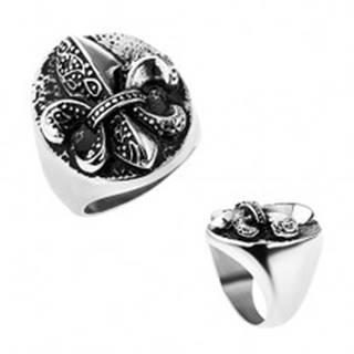 Prsteň z ocele, Fleur de Lis v ovále, strieborná farba, patina - Veľkosť: 57 mm