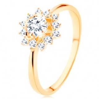 Prsteň zo žltého 14K zlata - číre zirkónové slnko, lesklé úzke ramená - Veľkosť: 49 mm