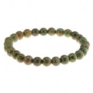 Pružný náramok na ruku, korálky v zelených odtieňoch, gumička