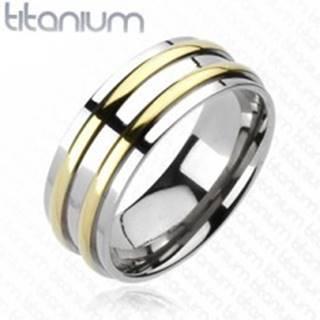 Titánová obrúčka - strieborná farba, dva pásiky zlatej farby - Veľkosť: 59 mm