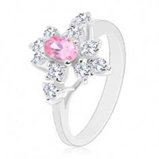 Trblietavý prsteň v striebornej farbe, ružový ovál, číre zirkóniky - Veľkosť: 49 mm