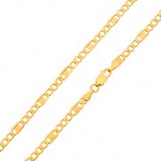 Zlatá retiazka 585 - tri oválne očká, článok s gréckym kľúčom, 450 mm