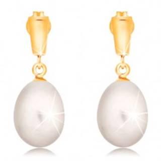 Zlaté 14K náušnice - visiaca oválna perla bielej farby, lesklý pásik