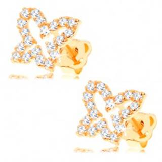 Zlaté náušnice 585 - obrys motýľa vykladaný čírymi zirkónmi, puzetky