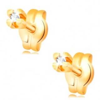 Zlaté puzetové náušnice - číry okrúhly zirkón v kotlíku, 1,25 mm