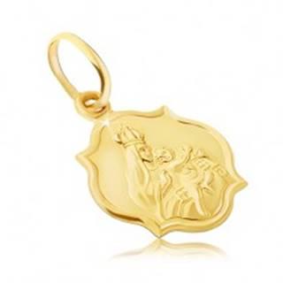Zlatý prívesok 585 - obojstranná matná známka s Madonou a Kristom