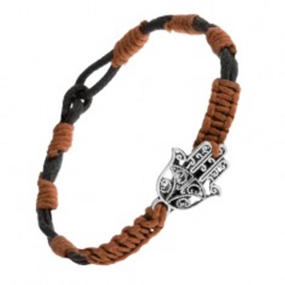 Šperky eshop Čierno-hnedý šnúrkový náramok s príveskom vyrezávanej ruky Fatimy