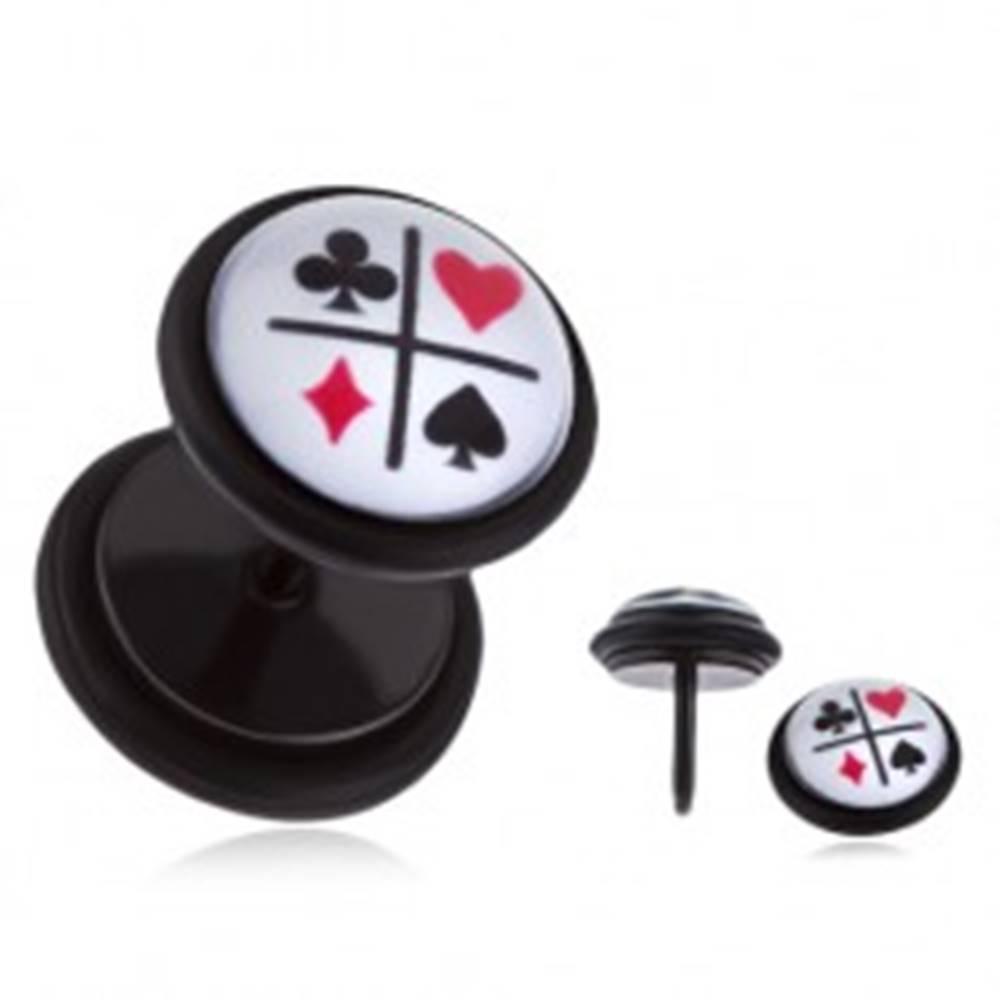 Šperky eshop Čierny fake plug do ucha s PVD povrchovou úpravou - kartové symboly