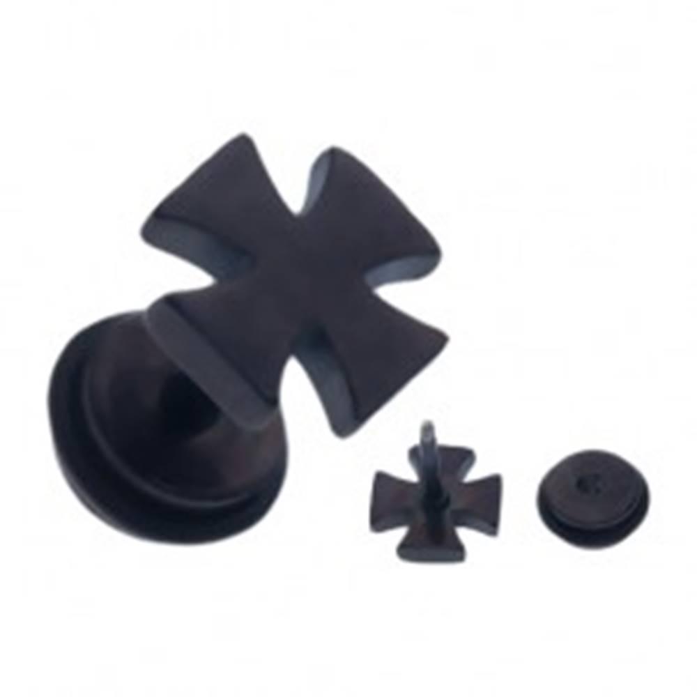 Šperky eshop Čierny oceľový fake piercing do ucha, lesklý maltézsky kríž