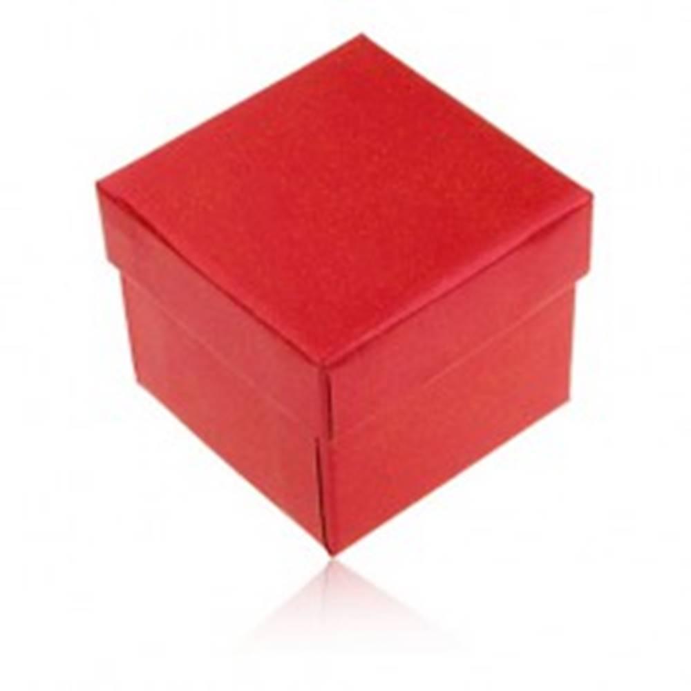 Šperky eshop Darčeková krabička na prsteň a náušnice, červená farba s perleťovým leskom