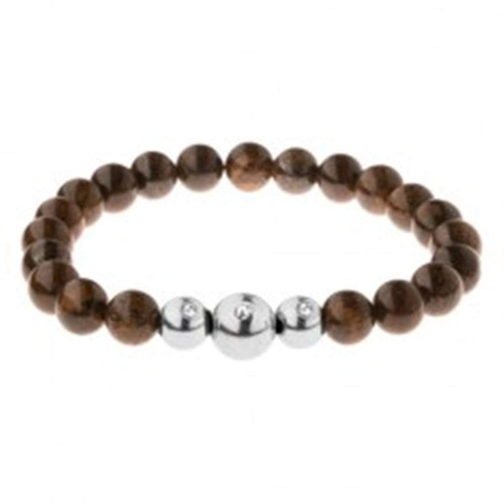 Šperky eshop Elastický náramok na ruku, korálky v bronzových odtieňoch, oceľové guličky