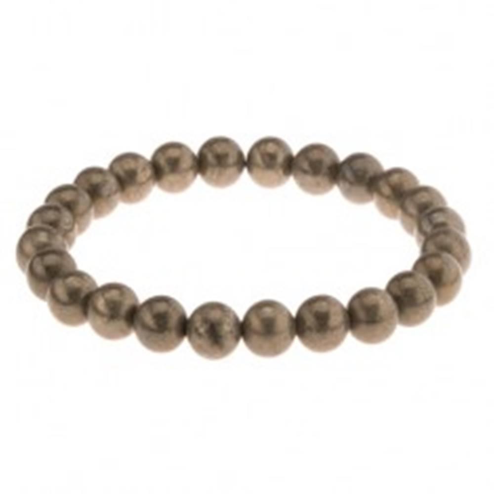 Šperky eshop Elastický náramok, šedozelené guľôčky pyritu na priehľadnej gumičke
