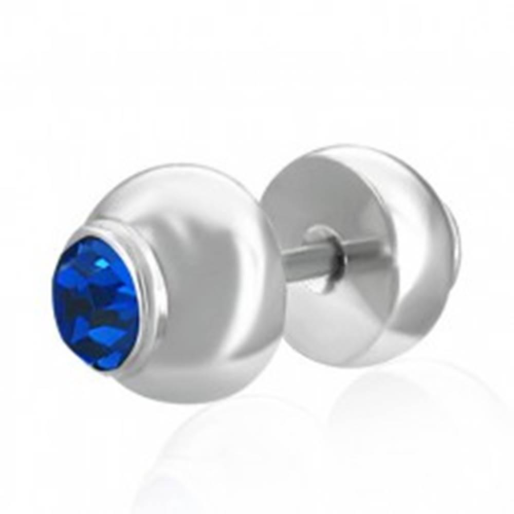 Šperky eshop Fake plug do ucha z ocele - vsadený modrý zirkón