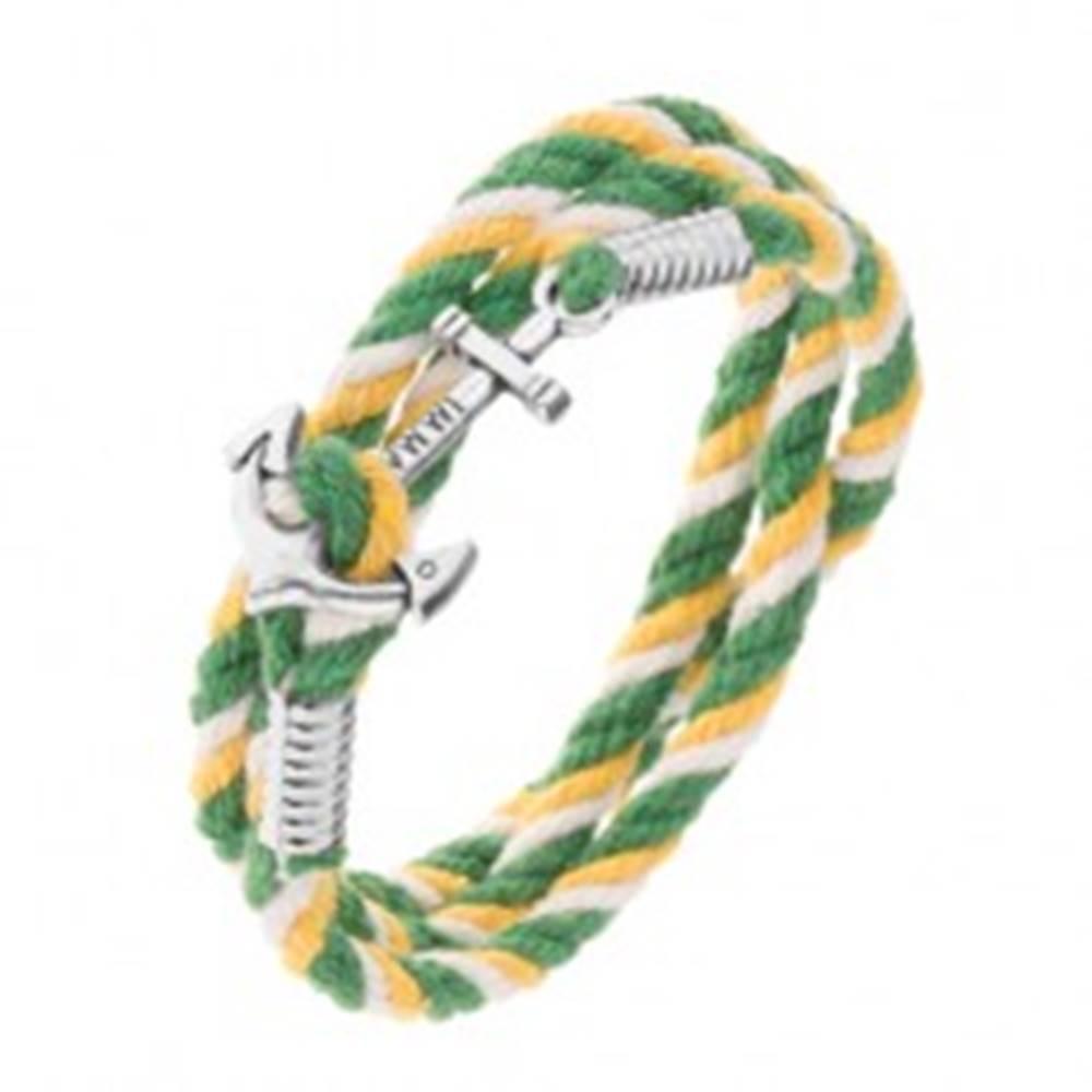 Šperky eshop Farebný náramok na ruku v zelenej, žltej a bielej farbe, lesklá lodná kotva