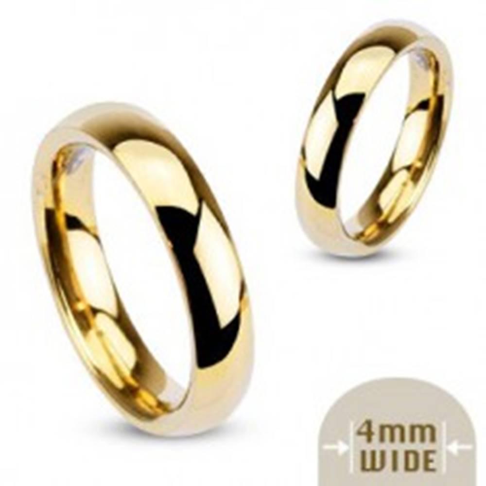Šperky eshop Hladká oceľová obrúčka v zlatej farbe - 4 mm - Veľkosť: 48 mm