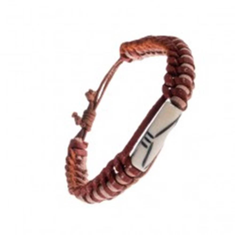 Šperky eshop Kožený náramok - dvojfarebné prúžky, korálka s výrezmi