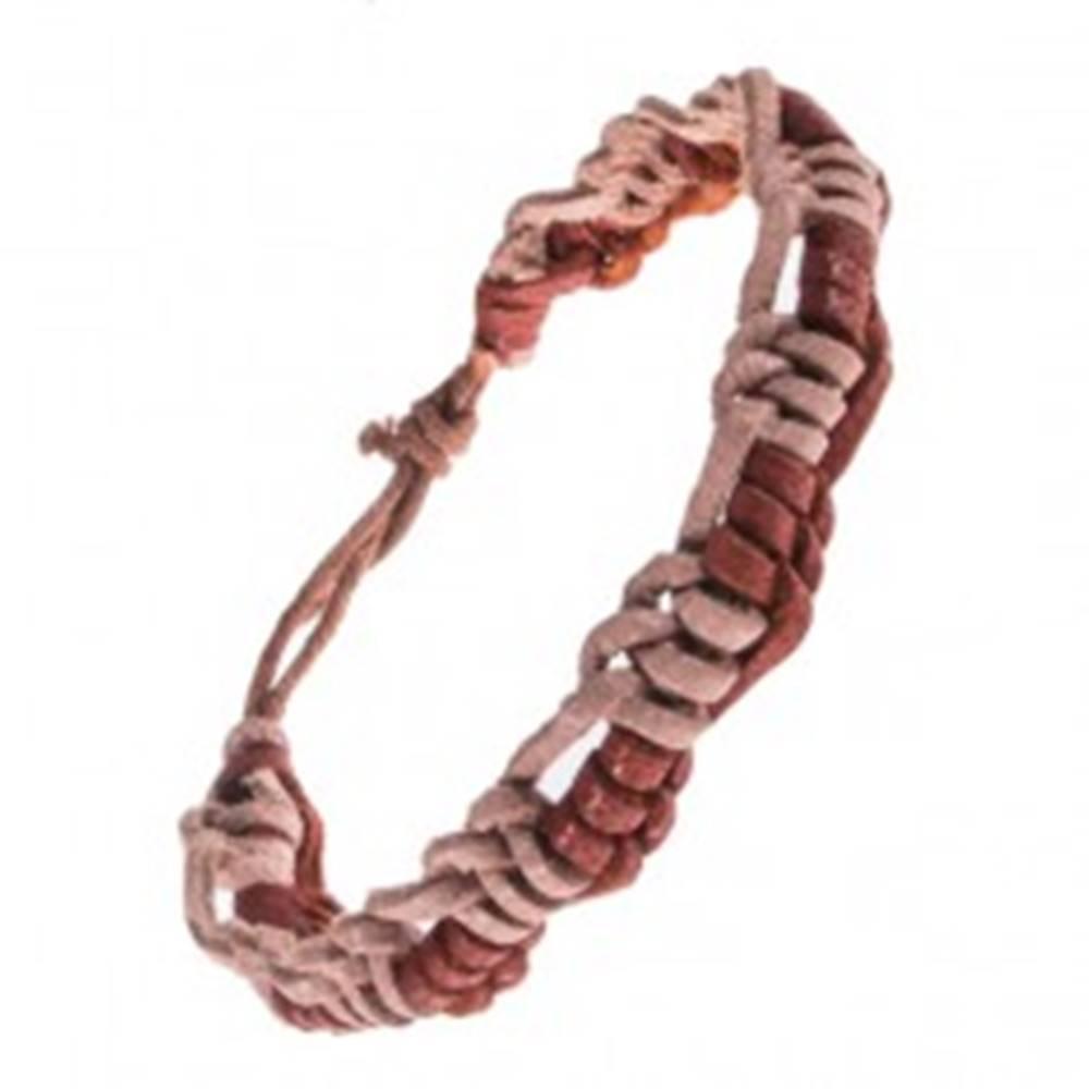 Šperky eshop Kožený náramok - pletený, striedajúce sa prúžky dvoch farieb