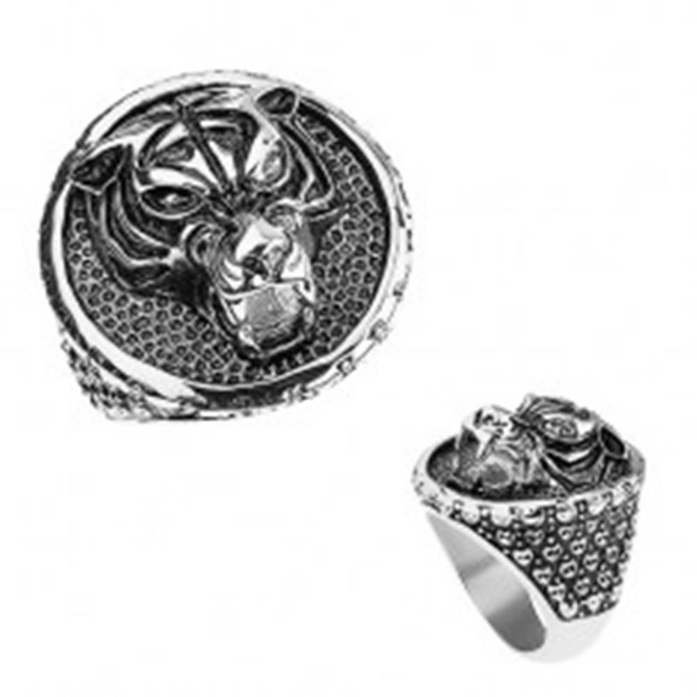 Šperky eshop Mohutný prsteň z ocele 316L, tiger s vycerenými zubami, patinovaný - Veľkosť: 57 mm
