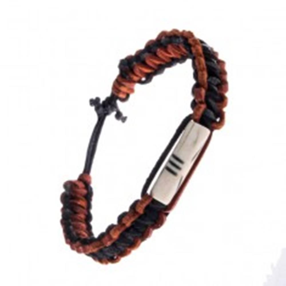 Šperky eshop Náramok na ruku s ozdobnou korálkou - pletený, kožený