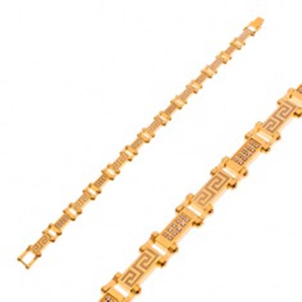 Šperky eshop Náramok z chirurgickej ocele zlatej farby s gréckym kľúčom a zirkónmi