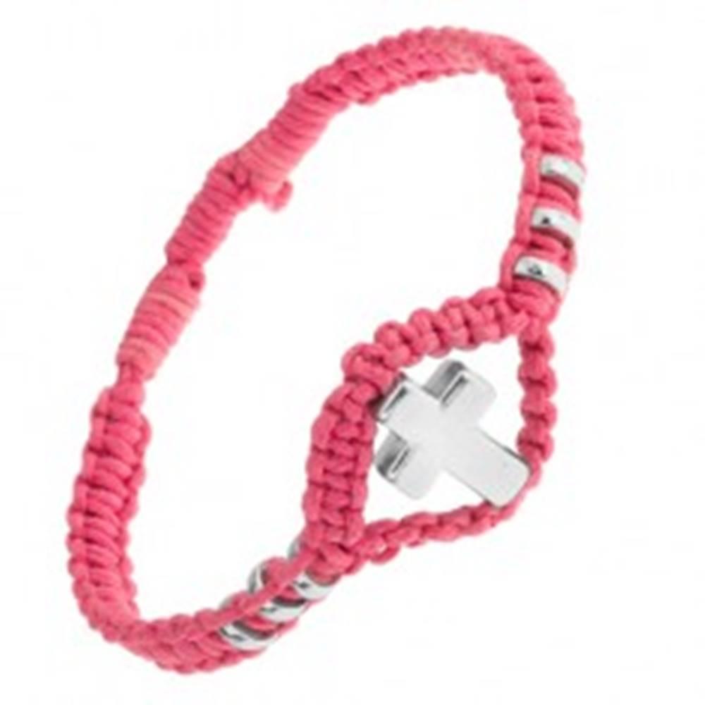 Šperky eshop Náramok z ružovej tkaniny, ozdobné kolieska a kríž z ocele 304L