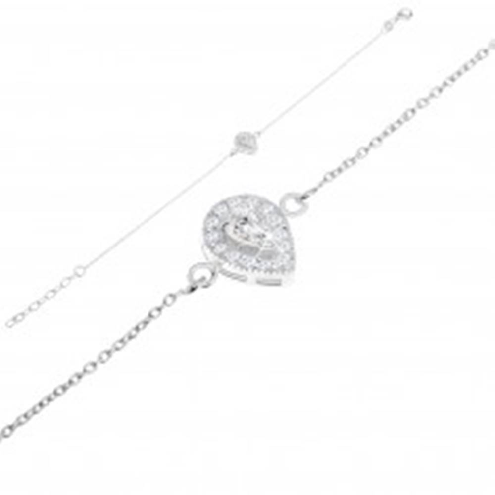 Šperky eshop Náramok zo striebra 925, slzičkový číry zirkón a žiarivé trblietky v plnej kvapke
