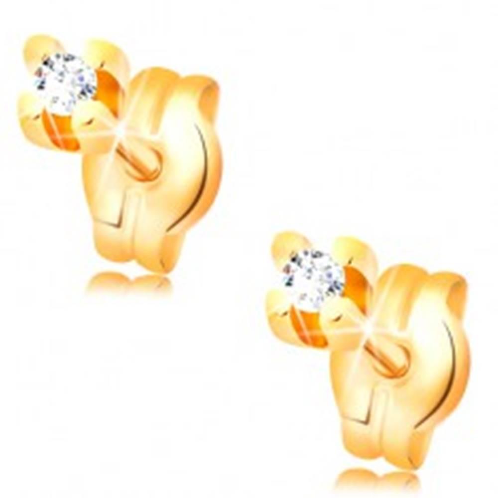 Šperky eshop Náušnice v žltom 14K zlate - okrúhly zirkón čírej farby, 1,5 mm