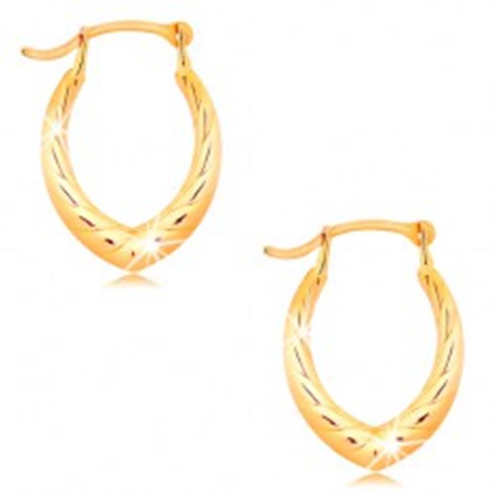 Šperky eshop Náušnice v žltom 14K zlate - špicatá podkovička, motív točeného lana