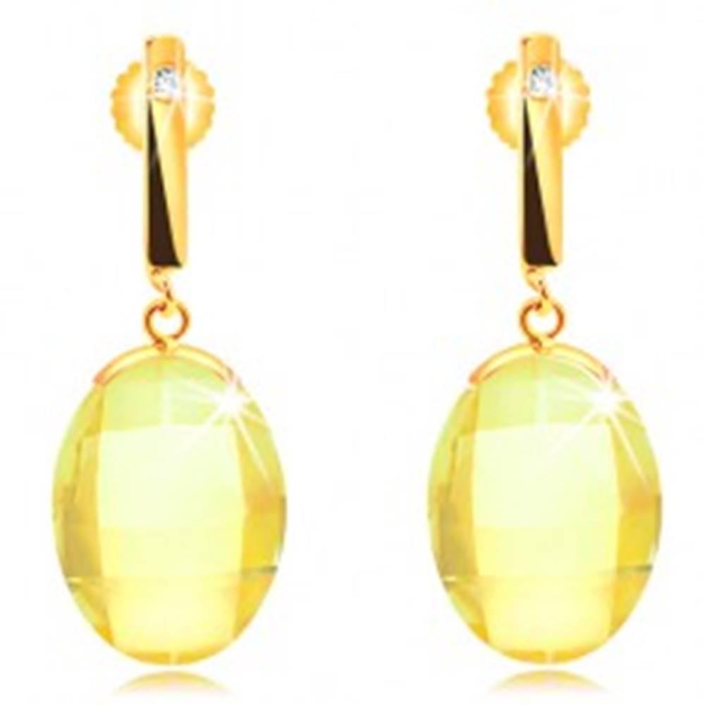 Šperky eshop Náušnice v žltom 14K zlate - úzka palička so zirkónom, brúsený žltý ovál