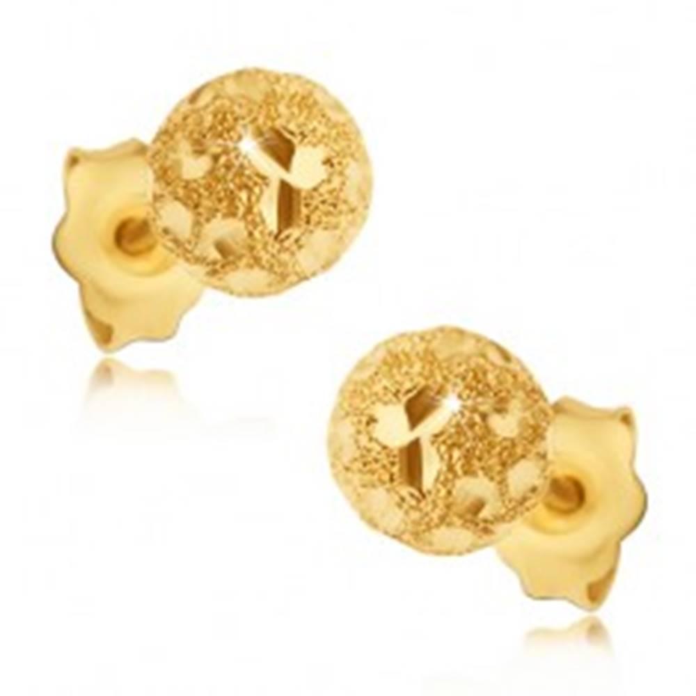 Šperky eshop Náušnice zo zlata 585 - pieskované guličky s lesklými zrnkami
