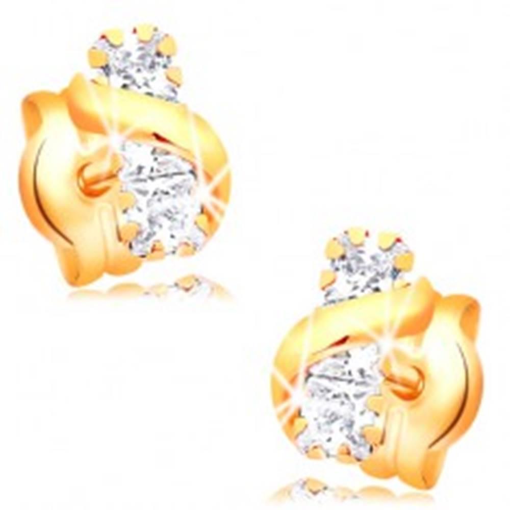Šperky eshop Náušnice zo žltého 14K zlata - pás čírych zirkónov, lesklá zvlnená línia
