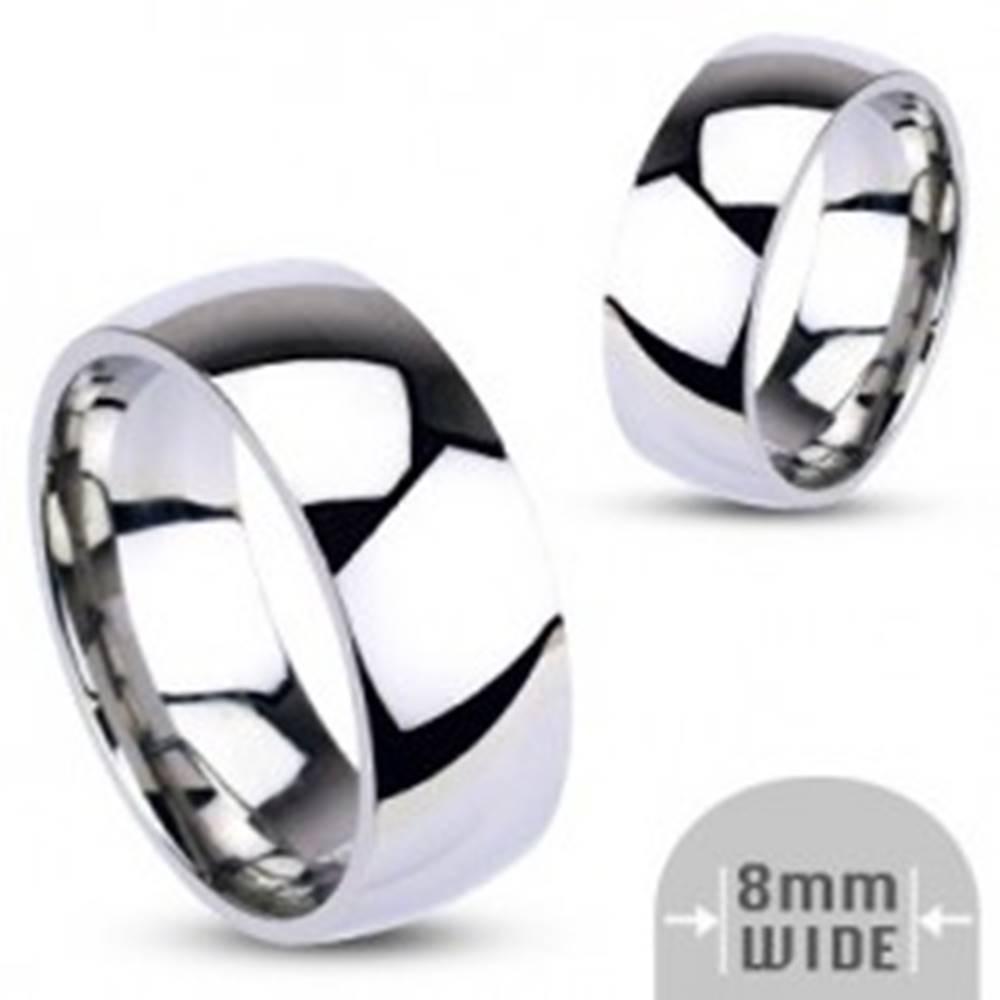 Šperky eshop Oceľová obrúčka - strieborná farba, hladká, lesklá, 8 mm - Veľkosť: 59 mm