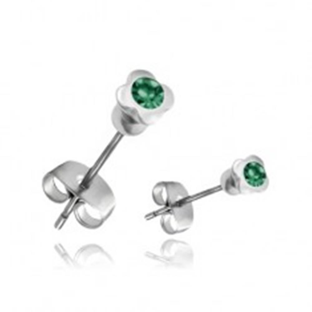 Šperky eshop Oceľové náušnice - štvorlístok so zeleným zirkónom